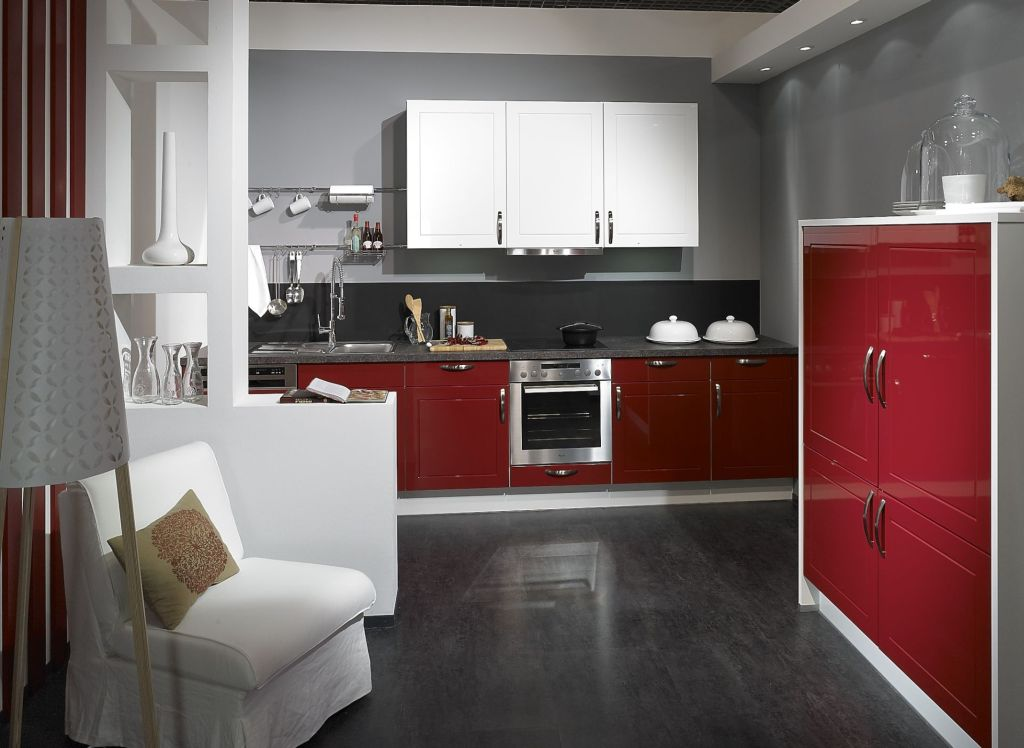 pino hochglanzk che rot weiss front wei hochglanz rot. Black Bedroom Furniture Sets. Home Design Ideas